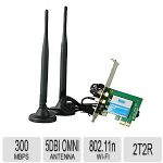 HiRO H50300 Wireless 802.11n WiFi 2T2R 300Mbps PCIe PCI Express PCI-E x1 Adapter High Gain 5dBi Omnidirectional Antenna Windows 10 8.1 8 7 32-bit 64-bit