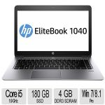 HP Elite Book Folio 1040 G1, i5-4310U (1.90 GHz,4GB 1600 (4 GB On Motherboard),180GB SSD, 14.0 LED, No Optical, S720p HD webcam, Win7 Pro 64 with Win8.1 Pro #J8U37UT#ABA