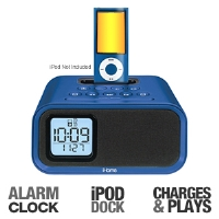 iHome iH22LV Alarm Clock Speaker System - iPod Dock, Plays and Charges, Dual Alarm, Line-In Jack, Battery Backup, Blue (iH22LT)