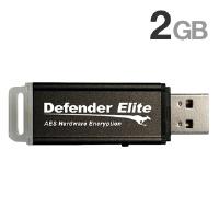 Kanguru KDFE-2G 2GB Defender Elite Encrypted Flash Drive - 2GB, USB 2.0, On-board Anti-Virus, FIPS 140-2 Certification