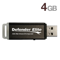Kanguru KDFE-4G Defender Elite Encrypted Flash Drive - 4GB, USB 2.0, On-board Anti-Virus, FIPS 140-2 Certification