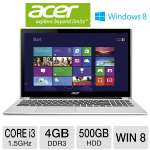 Acer Aspire V5-571P-6400 Notebook PC - 2nd generation Intel Core i3-2377M 1.5GHz, 4GB DDR3, 500GB HDD, DVDRW, 15.6 in. Display, Windows 8 64-bit (RB-V5-571P-6400) (Refurbished)