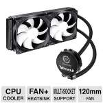 Thermaltake Water 3.0 Extreme 240mm Liquid Cooling - 2x 120mm Fans, 20dBA, High Efficiency Radiator, Double Curved Fan, Pump, Easy Installation - CLW0224-B