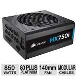 Corsair HX750I � 80 Plus Platinum Modular Power Supply, 750W, Quiet Mode, Fully Modular Cable Set - HXi High Performance - CP-9020072-NA