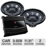 Kenwood Bass Party Pack - 2x 800W Woofers, 1x 350W Amplifier, 28Hz-800Hz, Steel Speaker Basket, MOSFET Power Supply, 300mm Injection P.P.Cone Woofers, Silver Plated Terminals (P-W1210)