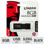 Kingston DataTraveler 100G3 8GB Flash Drive - USB 3.0, Sliding Cap Design (DT100G3/8GB)