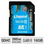 Kingston 16GB SDHC Flash Card - UHS-I, Class 10, Up To 60 MB/s Read Speed, Up To 35 MB/s Write Speed  - SDA10/16GB