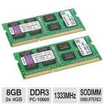 Kingston KVR1333D3SOK2/8GR 8GB Laptop Memory Module Kit - DDR3, 2x4GB, 1333MHz, SODIMM