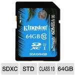 Kingston 64GB SDXC Flash Card - UHS-I, Class 10, Up To 60 MB/s Read Speed, Up To 35 MB/s Write Speed  - SDA10/64GB