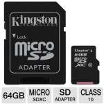 Kingston SDCX10/64GB 64GB Micro SDXC Flash Card - With SD Adapter, Class 10