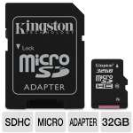 Kingston 32GB microSDHC Flash Card - Class 10, With Adapter (SDC10/32GB)