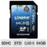 Kingston ELITE 64GB SDXC Flash Memory Card - Up To 30MB/s Read Speed, Class 10, UHS-1 (SD10G3/64GB)