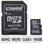 Kingston SDC4/16GB microSDHC Flash Card - 16GB, Class 4, Adapter