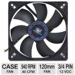 Kingwin CF-12LB 120mm Case Fan - Long Life Bearing, 3 & 4 Pin