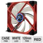Kingwin Duro Bearing Silent Series DB-122 120mm Case Fan - Shockproof, Two Way Installation, Isolator Mounts, Red Fan w/ White Led