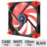 Kingwin Duro Bearing Silent Series DB-124 120mm Case Fan - Shockproof, Two Way Installation, Isolator Mounts, Black Fan w/ White Led