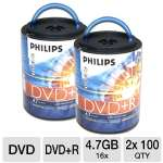 Two PHILIPS 100PK 16X DVD+R Spindles (Bundle)
