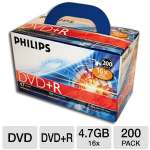 Philips DM4SDR4S6U02C/17 DVD+R - 200 Pack, 16X,Box