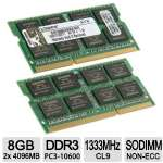 Kingston ValueRAM 8GB Memory Module Kit - 2x 4GB, PC3-10600 1333 MHz, DDR3 SDRAM, CL9, SoDIMM - KVR13S9S8K2/8