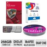 PNY 256GB Turbo USB 3.0 Flash Drive / Color Research DVD+R 10 Pack / McAfee 2015 MultiAccess AV/ SnapOne 350GB Cloud Storage Bundle
