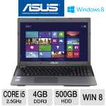 "ASUS K55A-HI5 Refurbished Laptop Computer - 2nd generation Intel Core i5-2450M 2.5GHz, 4GB DDR3, 500GB HDD, DVDRW, 15.6"" Display, Windows 8 64-bit (RB-K55ARF-HI5103D)"