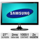 "Samsung S27B550V 27"" Class Widescreen LED Backlit Monitor - 1920 x 1080, 16:9, Mega Infinity Dynamic Contrast Ratio, 1000:1 Native, 2ms, 2x HDMI, VGA, MHL Capable, Energy Star (Refurbished)"