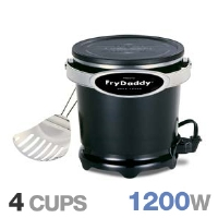 Presto 05420 FryDaddy Electric Deep Fryer - 1200 Watts, 4 Cup Capacity, Scoop Lift, Nonstick Surface, Stores Oil, Black
