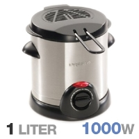 Presto 05471 Electric Deep Fryer - 1 Liter Capacity, 1000 Watts, Adjustable Thermostat, Stay-Cool Side Handles, Stainless Steel