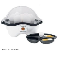West Bend 86628 Automatic Egg Cooker - Cook Eggs to Perfection, Includes Egg Rack, Poaching Pan, Non-Stick Interior, Measuring Cup, Poaches Up to 4 Soft Eggs or 7 Hard Eggs, Sturdy See-Through Cover
