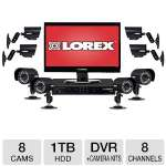 "LOREX 8 Channel DVR Security System - 1TB HDD, 21.5"" Touch Monitor, 8 Weatherproof x 480 TVL Cameras, 75 ft. Night Vision, H.264, Supports PTZ Cameras, Mobile Viewing (LH3281001C8T22B)"