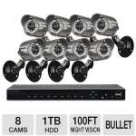 LOREX LH3361001C8B 16 Channel Security Cameras and DVR System - 8 Cameras, 1TB HDD, 660 TVL, 100' ft Night Vision, 1080p, Recording Options, Scroll to Search, Mobile Viewing 