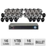 "Lorex Eco2 LH1361001C16B Security Camera System - 16 Channel, 1TB HDD, H.264, 16x Bullet Cameras, 1/3"" Color Image Sensor, 660TVL, 100' Night Vision Range, 1x VGA, 1x HDMI"