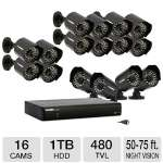 LOREX 16 Channel DVR Security System - 1TB HDD, 16 Weatherproof x 480 TVL Camera's, 50 ft. to 75 ft. Night Vision, Mobile Viewing, Email Alerts (LH0161001C16F)