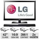 "LG 42LM3700 42"" Class LED Cinema 3D HDTV - 1080p, 1920 x 1080, 16:9, 60Hz, 3000000:1 Dynamic, HDMI, USB, 2 Channel Soundbar and 4x 3D Glasses Included, Energy Star"