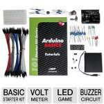 OSEPP ARD-01 101 Arduino Basic Starter Kit - Volt Meter, LED Game, Buzzer Circuit, Play Melody, UNO R3 PLUS Board, 6'ft USB to Mini Cable, DIP & Tact Push Switch