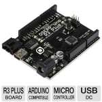 OSEPP UNO-03 Uno R3 Plus Board - Arduino Compatible, ATmega328P Microcontroller, 16MHz, 32KB Flash Memory, 2KB SRAM, 6-12V Input Voltage, 6 Analog Inut Pin Count, Flexible Power Source