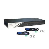 Linkskey LKV-7308-KIT 8-Port Rackmount USB PS/2 KVM Switch w/Cables - 6 x 6FT 3-in-1 USB PS/2 KVM Combo Cable, 2 x 10FT 3-in-1 USB PS/2 KVM Combo Cable