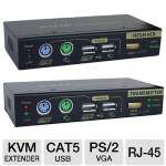 Linkskey LKV-E235 CAT5 USB & PS/2 VGA KVM Extender Set - CAT5, USB, PS/2, VGA, RJ-45