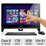 "Lenovo B550 All-In-One PC - Intel Quad Core i5-4440 3.10GHz, 8GB DDR3 Memory, 1TB HDD, DVDRW, 23"" Full HD Touch Screen Display 1920 x 1080, Windows 8.1 64-bit - 57327084"