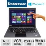 "Lenovo ThinkPad X1 Carbon Intel Core i7 8GB Memory 256GB SSD 14.0"" Ultrabook Windows 8.1 Pro 64-Bit - 20A70037US"