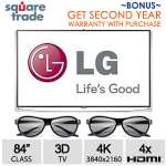 "LG 84UB9800 84"" Class UHD 4K Smart 3D LED TV & Square Trade 2 Year Warranty"