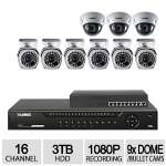 Lorex 16CH 9CAM 1080P NVR Kit - 3TB HDD, PoE, 3x Dome Cameras, 6x Bullet Cameras, 8x PoE ports, H.264, Night Vision 150ft Bullet Cam, Night Vision 125ft Dome Cam - LNR4163C9B