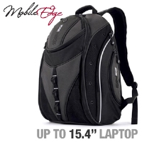 "Mobile Edge Express MEBPE2 Backpack - Fits Notebook PCs up to 15.4"", Black / Silver"
