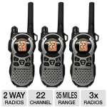 Motorola Talkabout MD200TPR 2-Way Radios - 3x Radios, 3x Belt Clips, 3x NiMH Rechargeable Battery Packs, 22 Channels, 20 Miles Range, Plug-in Charger, 3 AA Battery Type