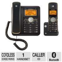 Motorola Corded/Cordless Phone & Answering Machine - Corded Base, 1 Handset, Dect 6.0, Up to 12 Hours Talk Time, Bluetooth, Call Waiting, Caller ID, Comfortable Handset (L512CBT)