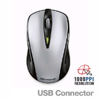Microsoft BNA-00001 Wireless Notebook Laser Mouse 7000 - 2.4 GHz, 4-Way Scrolling, USB, PC/MAC, 33 Feet Range