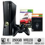 Includes Xbox 360 S Console, 250GB HD, Forza Motorsport 4 Game, Skyrim Download Token, Built-in WiFi, Xbox 360 Wireless Controller
