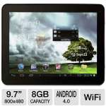 "Mach Speed Trio Stealth Pro 9.7C Internet Tablet - Android 4.0 Ice Cream Sandwich, 9.7"" Multi-Touch, 1.2GHz Processor, 1GB DDR3, 8GB Storage, WiFi, Dual Webcams"