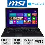 "MSI GE70 0ND-213US Laptop Computer - 3rd generation Intel Core i7-3630QM 2.4GHz, 8GB DDR3, 750GB HDD, DVDRW, 2GB NVIDIA GTX 660M, 17.3"" Full HD, Windows 8 64-bit"