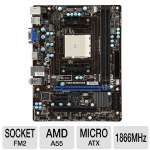 MSI FM2-A55M-E33 Socket FM2 Motherboard - MicroATX, Socket FM2, AMD A55, DDR3 1866 MHz, 8-CH Audio, Gigabit LAN, USB 2.0, PCIe, DirectX 11